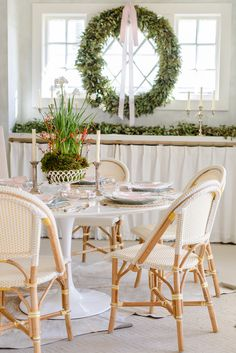 Southern designers share spaces they have made festive for the holidays. Round Dinning Table, Holiday Fun, Festive, Holiday Decorations, Table Decorations, All Holidays, Bright, Tables, Windows