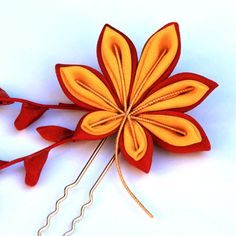 Vintage Kimono Momiji (Japanese Maple)Tsumami Kanzashi. Maple is one of the November motifs.