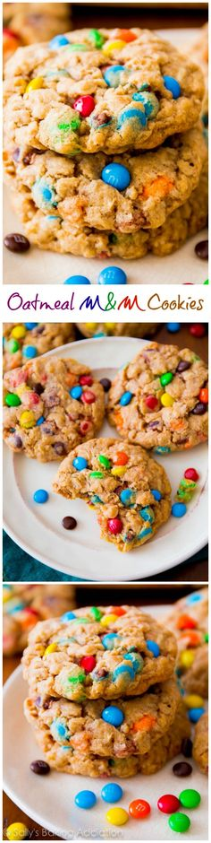 Chewy Oatmeal M&M Cookies.