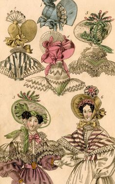 hats fashion print original 19th century french antique engraving no 2