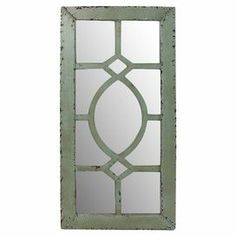 "Offering a touch of rustic charm for your hallway or master suite, this mirrored wall decor showcases a reclaimed wood frame and lattice overlay.   Product: Wall decorConstruction Material: Reclaimed wood and mirrored glassColor: Antique greenDimensions: 47.5"" H x 24"" W x 1"" D"