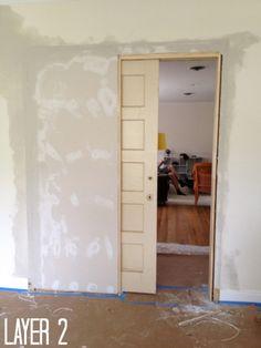 How to build a pocket door - C. How to build a pocket door… it's easier than you think! Home Renovation, Home Remodeling, Basement Renovations, Pocket Door Installation, Door Crafts, The Doors, Front Doors, Pocket Doors, Home Repairs
