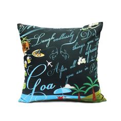 GOA CUSHION COVER.  One of the most sought-after holiday destinations in India, Goa is known for its rich history, beaches, water sports, music, monuments, art galleries, and a unique blend of socio-religious culture. This exclusive cushion cover is an ode to the free spirit of Goa..For more- http://www.covetlo.com/shop/home-decor