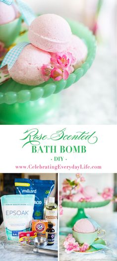 Learn to make your own Rose Scented Bath Bombs. Perfect for a lush bath or as a great gift! via @jencarrollva