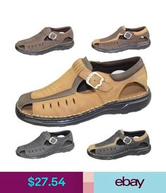 Sandals & Flip Flops Mens Buckle Sandals Walking Fashion Casual Summer Beach Leather Wide Fit Shoes #ebay #Fashion