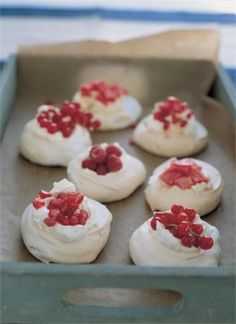 MINI PAVLOVAS. Because of the fruit - and the cream, for that matter - these are not cheap to make, but I always have a stash of egg whites in my deep freeze so I reckon I'm halfway there before I start.