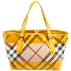 Pre-owned Burberry Nova Perspex Yellow Nova Check PVC Tote ($230) ❤ liked on Polyvore featuring bags, handbags, tote bags, burberry tote, white purse, yellow tote bag, lucite purse and burberry tote bag