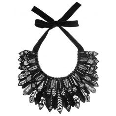 Forest Of Chintz Black & White  Aztec Plume Collar ($724) ❤ liked on Polyvore featuring jewelry, necklaces, leaves necklace, sequin jewelry, leaves jewelry, leaf jewelry and leaf necklace
