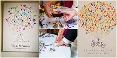 Una variante del clásico libro de firmas de bodas. Cada invitado deja su huella digital en vez de su firma. Así, los novios pueden recordar este momento tan especial de una manera  más original y artística. Les gusta esta idea para su casamiento?