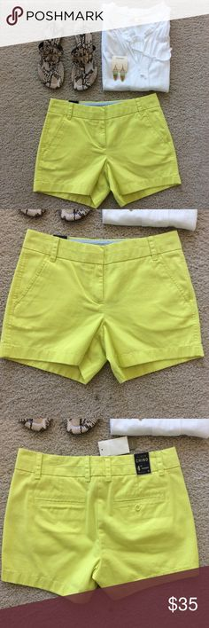 """J. Crew Chino shorts H. Crew Chino shorts. Color is a bright yellow. Super cute summer wardrobe must have. Pockets, belt loops. Front zip and hook closure. Laying flat waist approx 14.5"""" across. 4"""" inseam. 100% cotton. Size 0. NWT, never worn. J. Crew Shorts"""