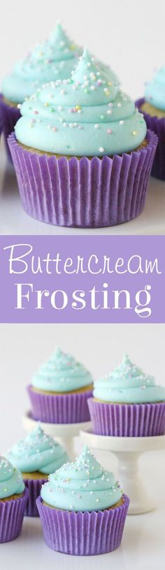 This classic American Buttercream Frosting is easy to make, delicious and perfect for frosting cakes, cupcakes and cookies! This classic American Buttercream Frosting is easy to make, delicious and perfect for frosting cakes, cupcakes and cookies! American Buttercream Frosting Recipe, Best Frosting Recipe, Homemade Frosting, Frosting Recipes, Dessert Recipes, Buttercream Frosting For Cupcakes, Blue Frosting, Frosting Tips, Cookie Frosting