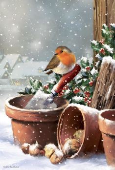 """ Rubans et compagnie"" by Anny ARNAUD Christmas Scenery, Christmas Artwork, Noel Christmas, Christmas Paintings, Christmas Animals, Christmas Wallpaper, Christmas Greetings, All Things Christmas, Winter Christmas"