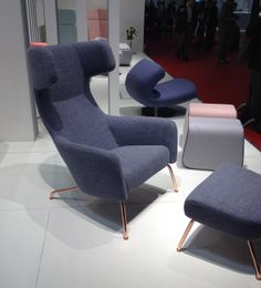 Softline's revamped Havana Wing Lounge Chair - now with copper-coated legs.