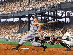 Joe DiMaggio Swinging - Original Limited Edition Baseball Painting by Derek Alvarez - Derek Alvarez Art