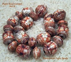 Paper Beads Carmel Set A   by PassionForPaperBeads on Etsy