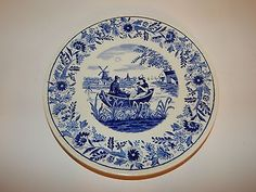 ANTIQUE-BLUE-WHITE-DELFT-PLATE-MADE-FOR-ROYAL-SPHINX-HOLLAND-BY-BOCH-BELGIUM