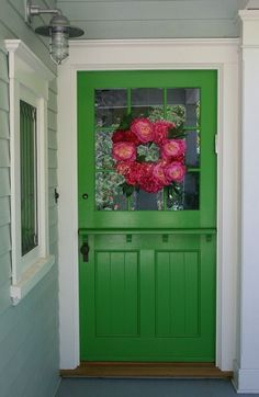 California cottage tour - love the green dutch door. Exterior Doors, Exterior Paint, Cottage Homes, Cottage Style, Front Door Colors, Front Doors, My Dream Home, House Tours, Beautiful Homes