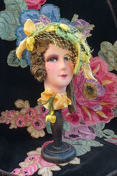 RARE Antique French Boudoir Doll Paris Head 1920 Hat Stand Fashion | eBay
