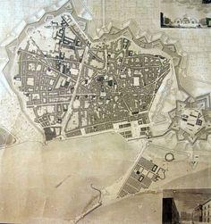 Barcelona l'any 1842    Plànol de la ciutat de Barcelona creat l'any 1842 pel mestre d'obres municipal Josep Mas i Vila. A més de la forma exacta de la ciutat s'hi representen alguns dels principals espais en transformació en aquells moments, com ara el pla de Palau i la plaça de Sant Jaume