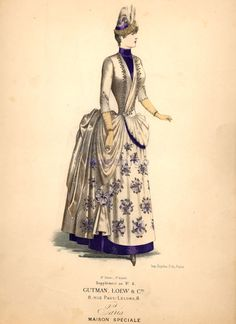 """Second bustle. Walking dress, ca 1885 France. Woman is wearing a fashionable coiffure with a small hat. She is wearing a langtry to support her dress. Her dress consists of a bodice and skirt; she is wearing a """"cuirasse"""" type bodice; the dress and jacket is tightly fitted to her body."""