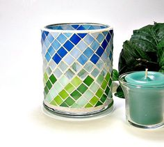 Stained glass mosaic votive candle holder blue and green