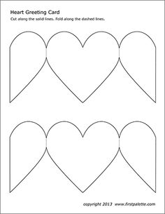 Free printable templates to make into heart-shaped paper greeting cards. Valentines Day Card Templates, Greeting Card Template, Birthday Card Template, Valentine Crafts, Printable Heart Template, Printable Cards, Free Printable, Heart Shapes Template, Heart Coloring Pages