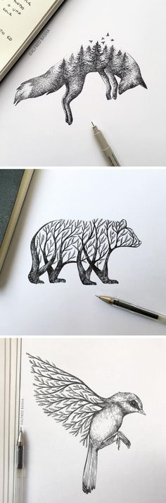 New Pen & Ink representations of trees that sprout in animals. Alfred Basha - Furnishing ideas - New Pen & Ink representations of trees that sprout in animals. Alfred Basha # New Pen & Ink represe - Cool Art Drawings, Pencil Art Drawings, Art Drawings Sketches, Animal Drawings, Art Sketches, Drawing Art, Drawing Ideas, Pencil Sketches Of Animals, Sketch Ideas