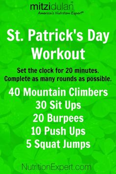 St. Patrick's Day No Equipment Needed Home Workout!! Start it today and have a green beer on March 17th!