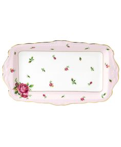 Royal Albert Dinnerware, Old Country Roses Pink Vintage Sandwich Tray - Fine China - Dining & Entertaining - Macy's Bridal and Wedding Registry