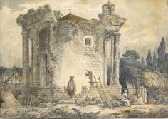 HUBERT ROBERT (PARIS 1733 - 1808) THE TEMPLE OF THE SIBYL AT TIVOLI, A MAN IN A CLOAK AND HAT STANDING ON THE STEPS, A GROUP OF MONKS TO THE RIGHT Estimate: 20,000 - 25,000 GBP  Pen and black ink and watercolour over traces of black chalk; signed and dated in pen and grey ink on the rock in the foreground: H.ROBERT / 17 ?71 31,5 x 44,5 cm
