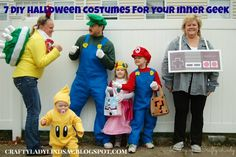 7 DIY Halloween Costumes for Your Inner Geek (Like this Super Mario Brothers costume for the entire family by craftyladylindsay)