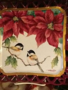 Houseplants That Filter the Air We Breathe Shirley Weston - Poinsettia Tray Design W Chickadees 720960 Autumn Painting, China Painting, Tole Painting, Christmas China, Christmas Art, Christmas Themes, Painted Trays, Hand Painted, Painted Porcelain