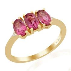 <strong>27</strong> - Cruzeiro Rubellite & Diamond 9k Gold Ring ATGW 1.44cts