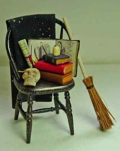 Dolls house miniature Spooky Witch Filled Chair