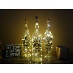 Style your world with modern decal artwork by Bellartdecals Light Up Bottles, Lighted Wine Bottles, Bottle Lights, Glass Bottles, Cheap Champagne, Sugar Skull Art, Sugar Skulls, Day Of The Dead Art, Wine Bottle Art