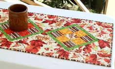 Fall Table Runner Quilted Autumn Table Topper by RedNeedleQuilts