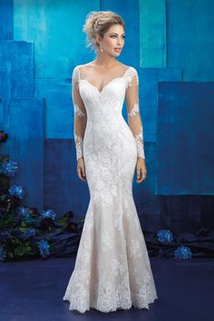 Fit and flare wedding gown with an illusion neckline, back and sleeves: http://www.stylemepretty.com/lookbook/designer/allure/allure-bridals-spring-2017/ #sponsored