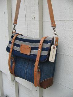 Eco Couture iPad Messenger -personalized Artist travel bag- nautical cross body purse.Indigo blue striped Japanese Kasuri - vintage Levis