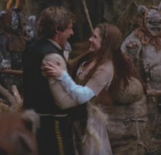 Star Wars VI-it melts my heart to see them do happy-Han and Leia's reunion in the forest