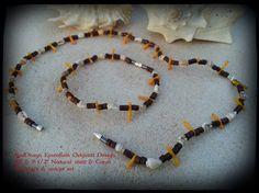 """RedDragn Essentials Original Design by Kari  19"""" Natural shell & dyed Coral w/ wood beads Necklace & 9 1/2"""" matching Anklet  Barrel Clasp"""