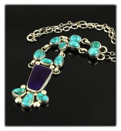 A spectacular Turquoise and Sugilite Cleopatra Necklace by Navajo Jewelry artisan Verde Jake