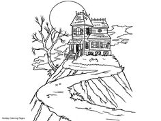 witches colouring pages | Witches House Coloring Pages, Printable Witches House Coloring Sheets ...