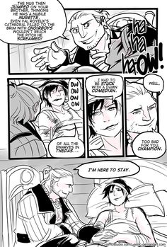 Awwww this is probably what really happens when Hawke gets hurt or sick :) i love Varric! DA2 - Damn Comedian