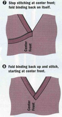 How do you bind a V neckline? I would like to have it show on some shirts and be folded to the inside on others.