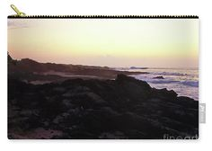 Waves Roll Into Shore As The Mist Begins To Lift Of The Rock Covered Area Of A Sandy Beach.the Sky Is Pastel Pearlescent .yellow From The Coming Days Hot Hawaiian Sun Seeps Up Behind A Pink Horizon. Carry-all Pouch featuring the photograph Hawaii Beach Dawn by Expressionistart studio Priscilla Batzell