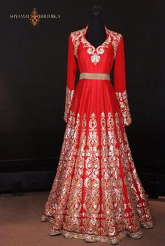 Red Shyamal & Bhumika floor length Anarkali