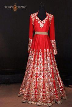 Red Shyamal & Bhumika floor length Anarkali