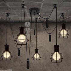 Vintage Style Metal Black Adjustable 5*Lights Industry Droplight/Hanging Lamp in Home & Garden, Lighting, Fans, Chandeliers & Ceiling Fixtures | eBay