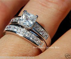 14k White Gold 925 Sterling Silver 1ct Princess cut Wedding Ring Band Set 4-11