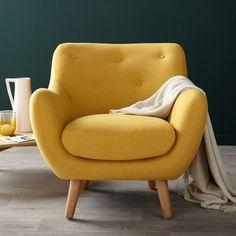 Poppy meuble   Fauteuil esprit scandinave jaune moutarde - Alinéa